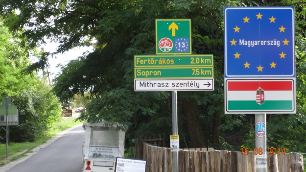 The bike route to Hungary (the only way accross the border at this point. It's a long way round by car)
