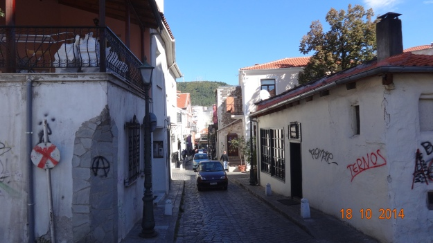 tiny, busy streets in Xanthi