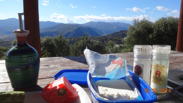 the makings of a typical Greek lunch (with free view)