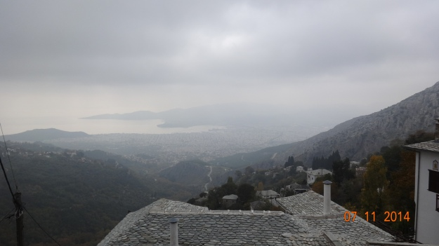 Looking down to Volos from the mountain villiage of Makrinista
