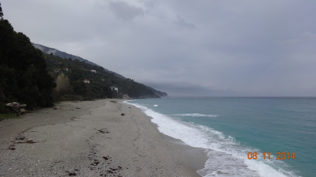 a wintry beach at Choretto - the water's still turquoise though :)
