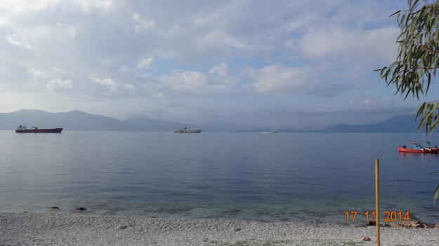 our ever changing view - plenty of boats going by on the way to Volos