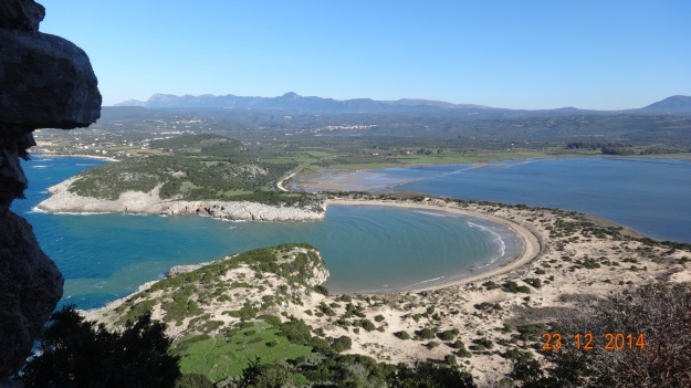 Looking down from Paleokastro to the perfect curve of Voidokilid beach