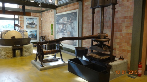 old olive presses in the museum