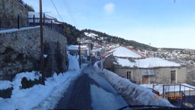 The village of Kosmos - Heidi's not scared of ice - honest!