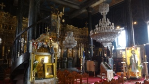 Inside the richly adorned church of 'The birth of the Virgin Mary', just of Syntagma Square