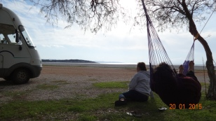 Trying out the hammock at Salidi Beach