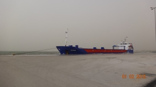 The Dutch ship that brought them in - being bashed against the harbour wall in the F7 winds!