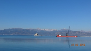 The bay on a good day. Dredger constantly working away, and 'Bourtzi' castle on the island.