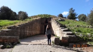 The entrance to the 'Treasury of Atreus', one of several 'Tholos Tombs' - this one intact