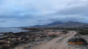 walking along the coast road from Pounta