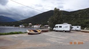 Parked at the carpark at Limeni Gherika, next to Magbaz
