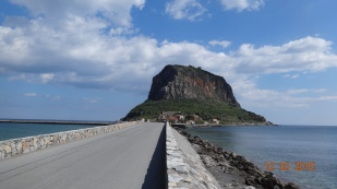 across the causeway to rock / medieval fortress town of Monemvasia