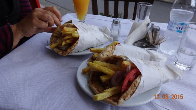 What, 2 'gyros pita' each! From what we've seen, it's a fairly common request - but too much for us!
