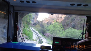 up the Vouraikos Gorge on a rather more modern train than the original!