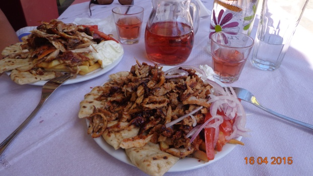 "...and a good lunch too! This is what you get when you order a ""portion gyros"". As usual in Greece - portions are huge, cost is little."