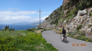 Cycling along the coast between