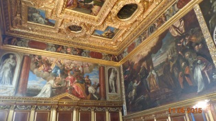 Very elaborate ceilings and endless impressive paintings in the many rooms of the Doge's Palace