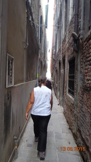 It's single file for a lot of the Venice backstreets