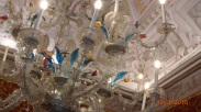Surprisingly modern looking 18thC glass chandeliers in Moncenigo's Palace