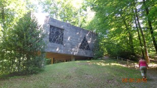 The unusual modern church at the Hermitage de St. Rouin near Beauileu-en-Argonne