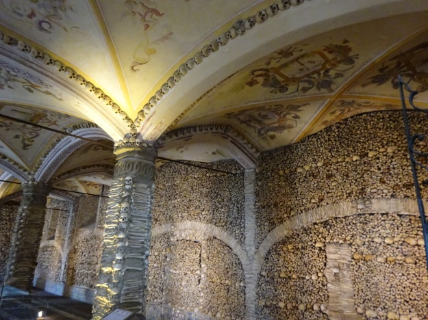 "The Chapel of Bones, built by Franciscan monks in the 17th centuary as a ""reflection of the transitory nature of the human condition"""